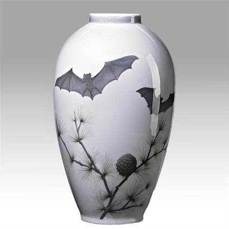 vase with bats and pine boughs by royal copenhagen