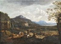 italienische ideallandschaft mit hirten und ruinen by willem von bemmel