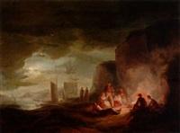 fiskare vid eld på stranden by alexander laureus