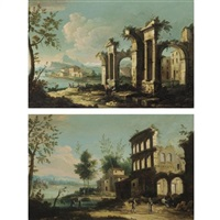 a capriccio with figures beside classical ruins, a river beyond (+ a capriccio river landscape with figures before the ruins of an amphitheatre; pair) by italian school-northern (19)