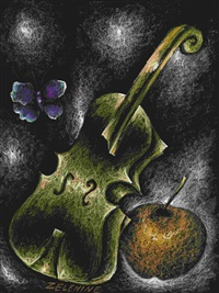 apple and violin by edouard zelenine