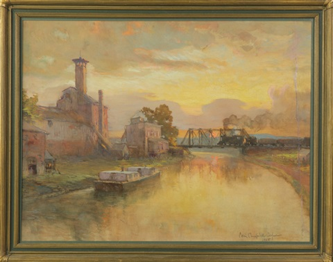 canal scene with train by colin campbell cooper