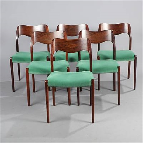 chairs model 71 set of 6 by niels otto møller on artnet