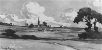 landscape with church in distance by marcel mettenhoven