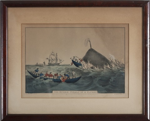 the sperm whale in a flurry, capturing the whale and the whale fishery laying on (3 works) by nathaniel currier