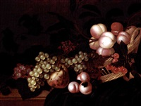 a still life of peaches, cherries, grapes and apples in a basket, all resting on a partially draped ledge by bartholomeus assteyn