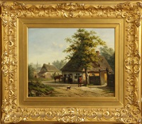 cottage scene by h. peeters
