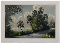 inlet with palm trees by harold newton