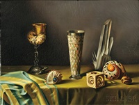 still life with shells and goblets by fernand renard