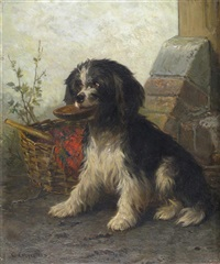 a black and white terrier by a basket by conradyn cunaeus