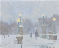 late afternoon snowfall on the boston public gardens by thomas r. dunlay