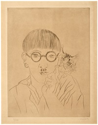 self-portrait with cat on shoulder by léonard tsuguharu foujita