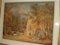 shepherd and flock on a wooded path by abbey ruins by james baynes