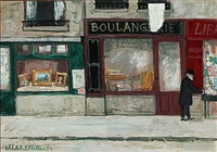 a street with shops, paris by max müller