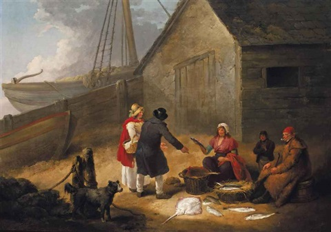 a fishwife selling fish outside a boathouse by george morland