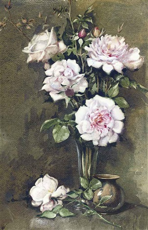 a vase of pink roses by james gray