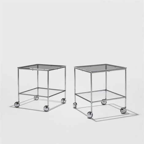 rolling occasional tables pair by paul rudolph
