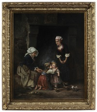 family group encouraging a toddler by eugene joseph lejeune