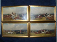 steeplechasing scene (+ 3 others; 4 works) by samuel henry alken