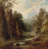 figures seated beside a river by george hickin