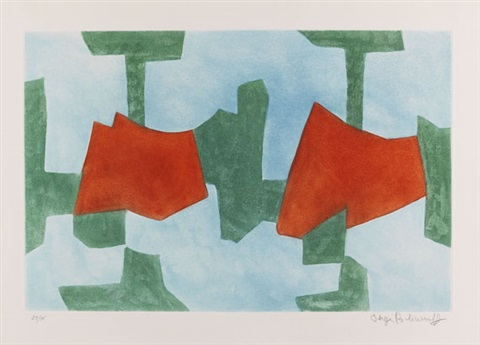 composition bleue verte et rouge by serge poliakoff