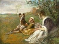 mutter und kind neben ruhender dogge in frühlingswiese by joseph correggio