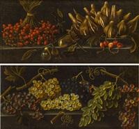 pendants - stillleben mit trauben & stillleben mit einem strauß walderdbeeren, einem teller mit feigen, birnen und kirschen by pier paolo (g.b. carracci) bonzi