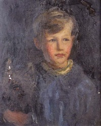 portrait of master engelbach, the artist's son, with his dog by florence engelbach