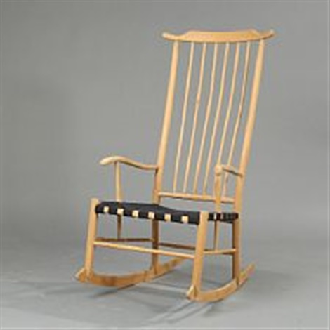 high-back rocking chair back with vertical slats by peter hvidt & High-back rocking chair back with vertical slats by Peter Hvidt on ...