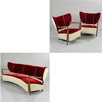 three-seater sofa with curved front and floating back and two easy chairs (set of 3) by magnus læssoe stephensen