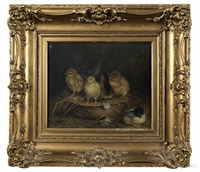 six chicks playing in a basket of straw by ben austrian