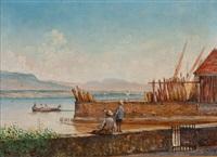 pêcheur au bord du lac by jules gachet