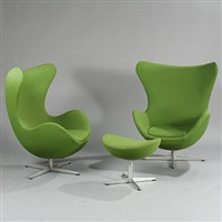 the egg chairs and stool (model 3317 and 3127) (set of 3) by arne jacobsen