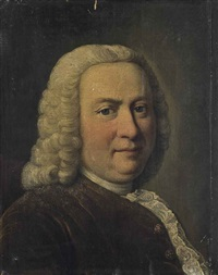 portrait of a gentleman, traditionally identified as johann sebastian bach (1685-1750), bust-length, in a rust coat by german school (18)