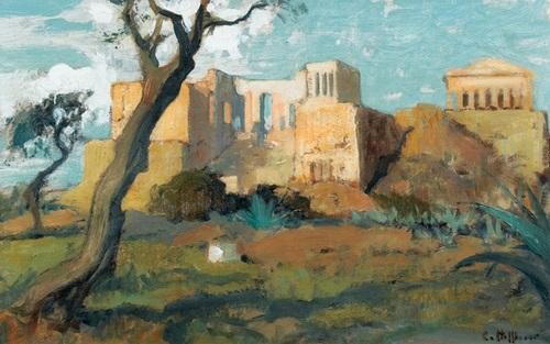 blick auf die akropolis mit propyläen und parthenon by charles hoffbauer