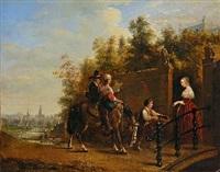 bettelmusikanten zu pferd, von einer jungen dame mit einem almosen für ihre darbietung belohnt by henricus engelbertus reijntjens