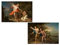der engel erscheint dem schlafenden elias (+ tobias und der erzengel rafael; pair) by franz christoph janneck