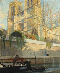 spring scenery from seinen with boatman and walking couple passing by notre dame by lucien victor félix delpy
