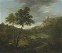 capriccio with a classical sarcophogus and possibly beeston castle, chesire by george lambert