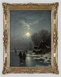 heimkehr bei vollmond im winter by johann jungblut