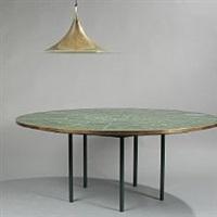a circular table w/ brass pendant (set of 2) by bjørn wiinblad