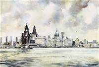liverpool viewed from the mersey (+ 3 others; 4 works) by brian richard entwhistle