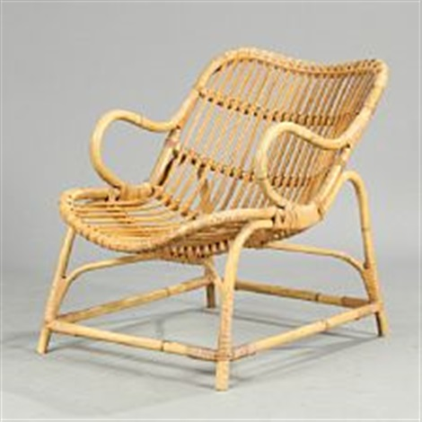 Easy Chair With Bamboo Frame, Seat And Back With Woven Cane By Flemming  Lassen