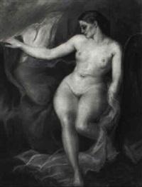 sitzender weiblicher akt mit geneigtem kopf by georges guido filiberti