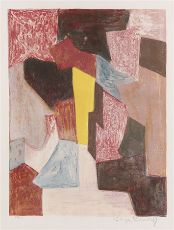 composition rouge carmin et jaune by serge poliakoff