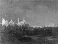 südliche hafenstadt im abendrot by leo fontan