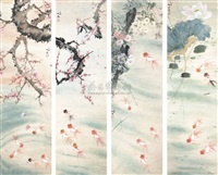 flowers and fish (set of 4) by huang chishi