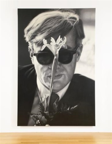 andy warhol with flower by dennis hopper
