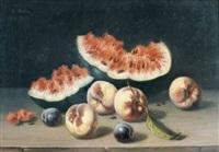 stillleben mit melone, zwetschgen und pfirsichen by charles hutin