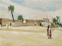 place du village à touggourt by robert martial artault